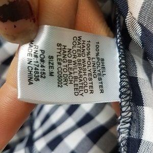 Blush Dresses - Blush boutique navy white gingham tie front dress